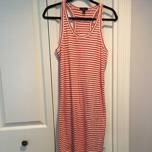 J Crew Racerback tank dress in red striped size S